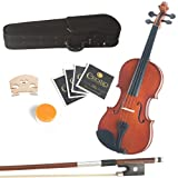 Mendini 15-Inch MA250 Natural Varnish Solid Wood Viola with Case, Bow, Rosin, Bridge and Strings