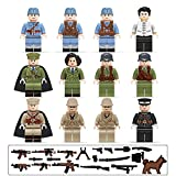 Bttoyy Minifigures Set, 12 Pcs Army Minifigures soldier with Military Weapons Accessories, Building Bricks, Minifigures Toys Building Blocks for Kids, Party Supplies
