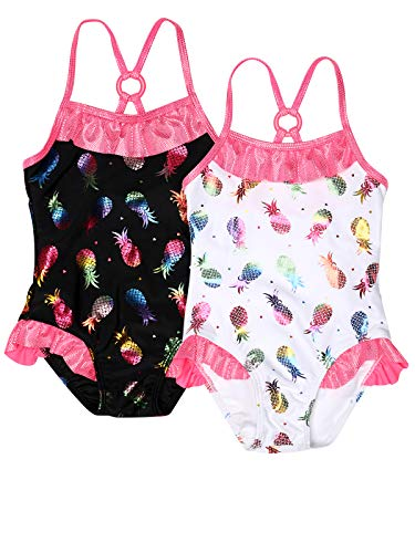 Real Love Girl's 4-Piece Bathing Suit Set (Infant & Toddler), Black/White, Size 12 Months'
