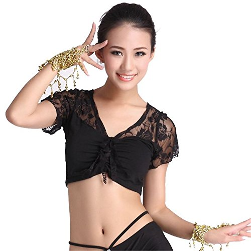 Belly Dance Short Sleeve Lace Tops Dancing Tribal Crystal Cotton Bra Costume black (Belly Dance Costumes Large Ladies)
