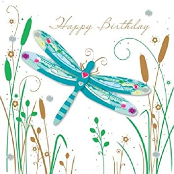 Handmade Dragonfly Happy Birthday Greeting Card By Talking Pictures