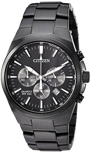 Citizen Men's ' Quartz Stainless Steel Casual Watch, Color:Black (Model: AN8175-55E) (Black Stainless Steel Mens Watch)