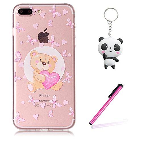 iPhone 8 Plus Hülle Liebes Bär Premium Handy Tasche Schutz Transparent Schale Für Apple iPhone 8 Plus + Zwei Geschenk
