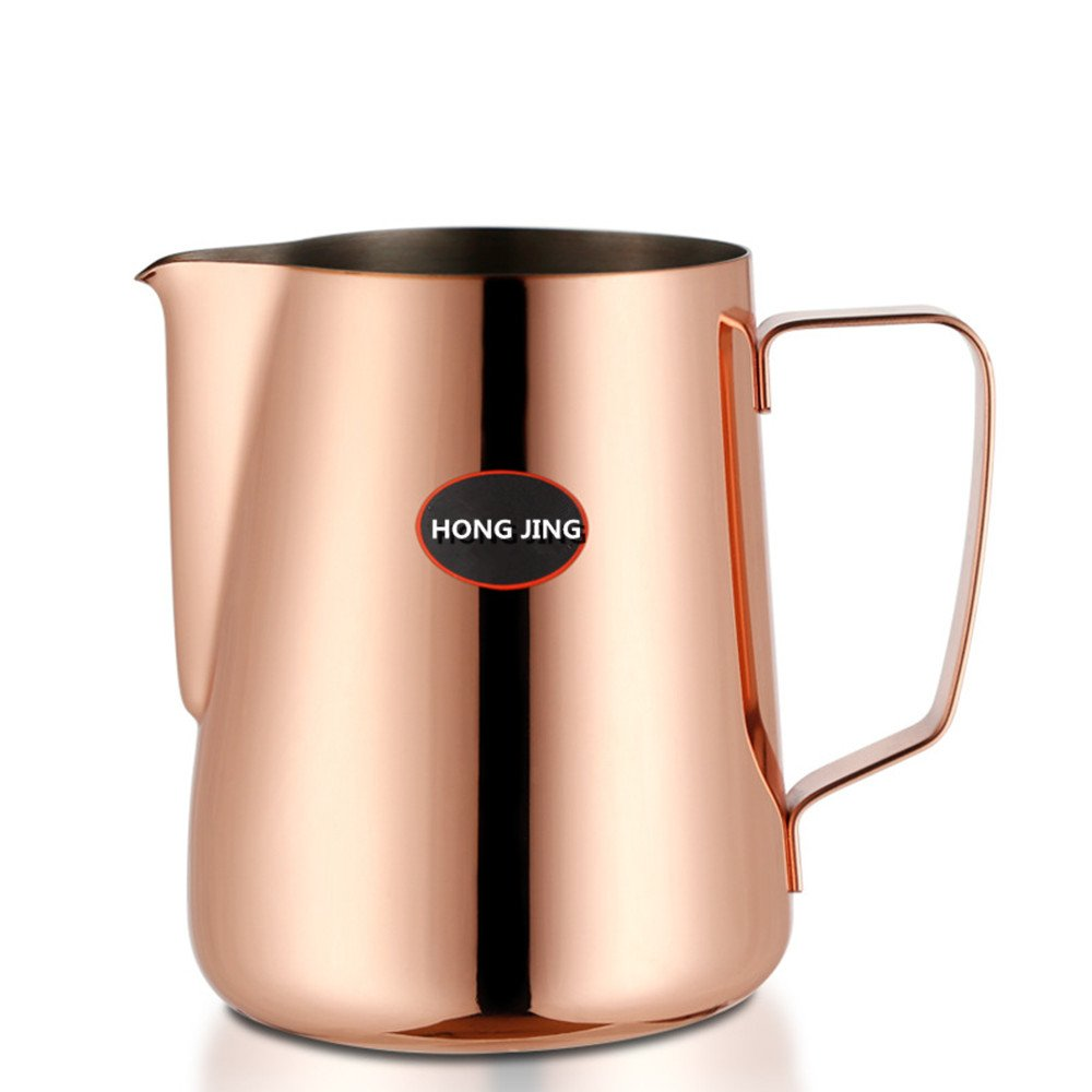 HONGJING Stainless Steel Milk Frothing Pitcher/Jug/Cup,Perfect for Milk/Coffee/Tea(600 ML)