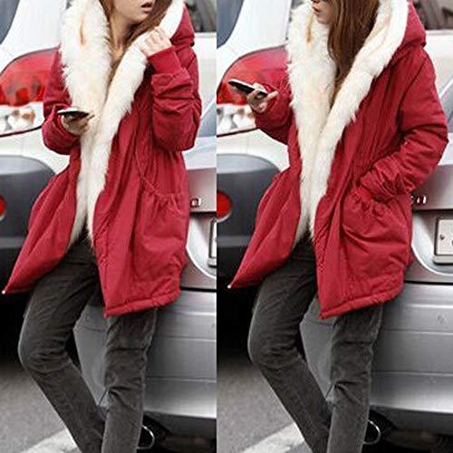 Fur Salvaje Capucha Rot Color Sólido Moda Faux Grueso Cálido Invierno Suelta Mujeres Con Parka Coat Apretado Fleece Jacket Trench Para Outwear qnTX1CwA