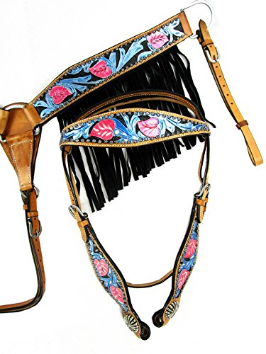 Headstall Breast Collar Set Turquoise Floral Tooled Painted Blue Pink Black Fringe Show Horse Leather Western Bridle ()