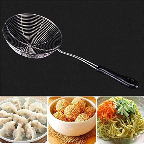 HOBULL Convenient Mesh Skimmer Ladle Spoon Handheld Mesh Strainer Food Strainer Sieve Frying Oil Tool for Kitchen