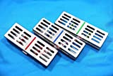 GERMAN STAINLESS 3 Dental Sterilization Cassette Rack Tray Box For 5 Surgical Instruments ( SET OF 3 EACH COLORED )