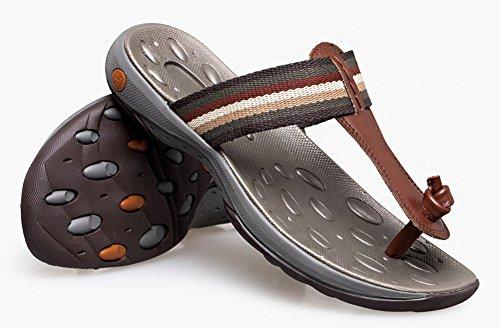 Hw-varer Menns Stripe Utendørs Sandaler Anti-slip Koselig Flip-flop Brun