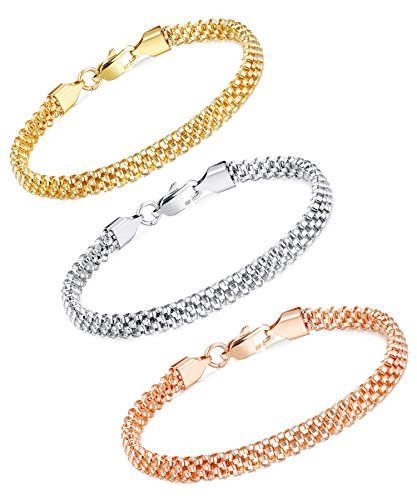 LOYALLOOK Stainless Steel Mesh Chain Bracelets for Women - Rose Gold Stainless Steel Chain