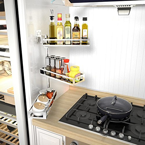 Standard Wall Mount Liner - MOOLO Storage Racks Stainless Steel Condiment Shelf,Height Adjustable/Rotatable,With Load 30 jin (Size : Three layers)