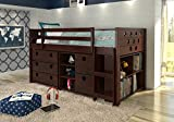 Loft Bed with Storage, Bookshelves, and Dresser in One & Free Storage Pockets