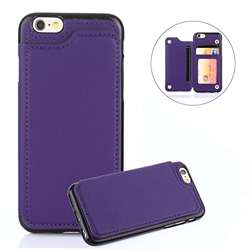 For iPhone 7 8 Wallet Phone Case,Aearl TPU Back Protective Bumper Shell Cover PU Leather Flip Credit Card Holder and ID Card Slot Pocket Purse,Free Screen Protector for Apple iPhone 8 7 - Purple - Free Card Holder
