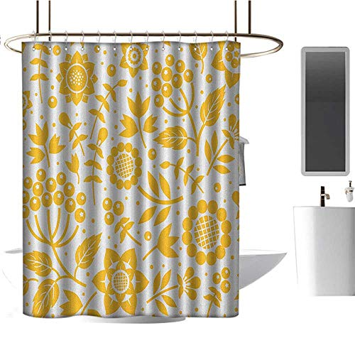 Qenuan Polyester Shower Curtain Yellow Flower,Rustic Composition with Berries Twigs Graphic Flora Nature Leaves Pattern, Yellow White,Print Polyester Fabric Bathroom Decor Sets 70