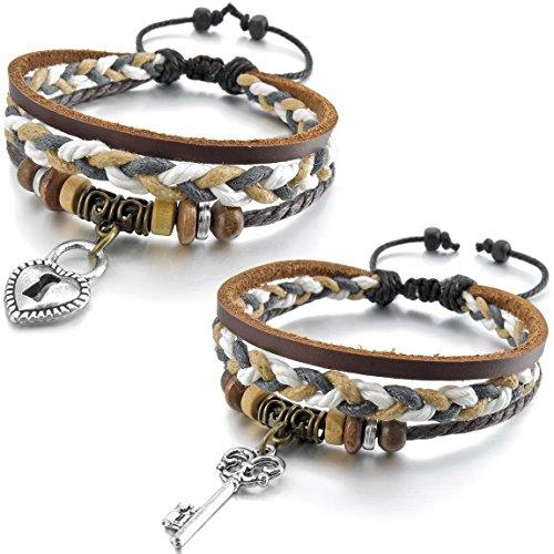 INBLUE Men,Women's 2 PCS Alloy Genuine Leather Wood Bracelet Bangle Cuff Silver Tone Brown Black Key Lock Heart Love Surfer Wrap Adjustable Fit 7~9 (Lock And Key Costume)