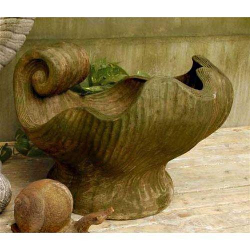 """Orlandi Statuary Concetto Shell - 15"""" Planter Decor Finish: Verde"""