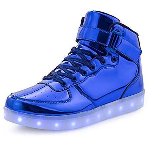 KUshopfast BeKing Kids High Top Light up Shoes LED Flashing Sneakers for Boys Girls LMblue30