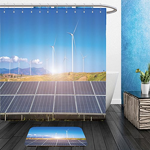 Vanfan Bathroom 2 Suits 1 Shower Curtains & 1 Floor Mats solar panels with wind turbines against mountanis landscape against blue sky with clouds 584100934 From Bath room by vanfan
