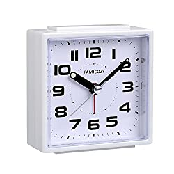 FAMICOZY Small Alarm Clock,Silent Non Ticking with Snooze and Backlight,Crescendo Alarm,Big Numbers for Easy Reading,Analog Quartz Alarm Clock for Bedside Nightstand,Battery Operated,White