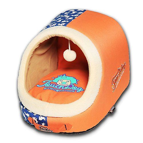 touchdog Lazy-Bones' Rabbit-Spotted Active-Play Panoramic Fashion Designer Pet Dog Cat Bed House Lounge w/Teaser Toy, One Size, Orange, Ocean Blue