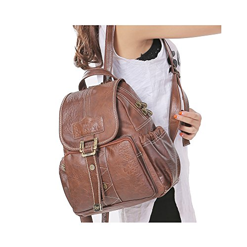 Daypack Snap Leather 12 Purses Bag 6 Large Purple Travel 4 Genuine Messenger 10 Dark Shoulders Brown Bags inches Backpack Women's Backpack Hook x Lycailcy Magnetic 6 7 Bag Satchel x EqIUzpwpx