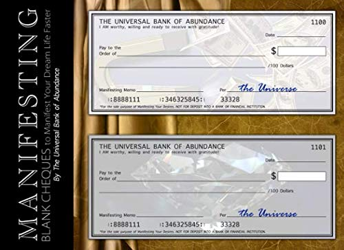 Manifesting Blank Cheques to Manifest Your Dream Life Faster: Your Personal Secret Checkbook Journal with 50 Law of Attraction Checks (Beginner's LOA for Financial Freedom) (Making A Vision Board Law Of Attraction)