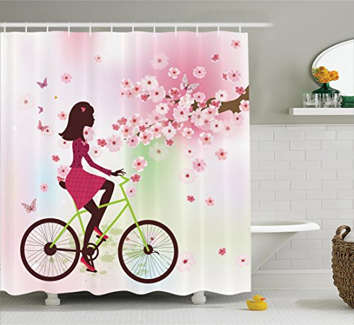 Ambesonne Teen Girls Decor Shower Curtain Set, Girl on a Bike Passing by Cherry Trees Blooms Springtime Nature Seasonal Illustration, Bathroom Accessories, 75 Inches Long, Pink Green