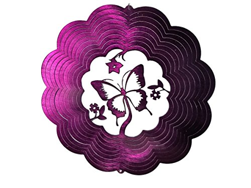 Purple Butterfly with Flowers Garden Wind Spinner, Metal Yard Art and Outdoor Décor, 12 Inch