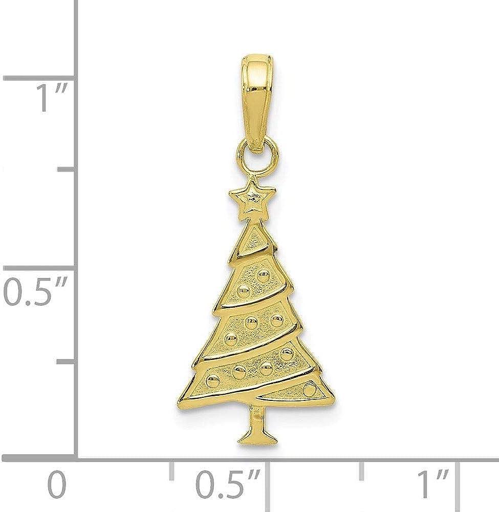 10K Yellow Gold Christmas Tree Charm Pendant
