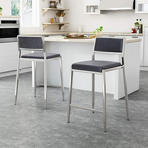 "Great Deal Furniture 308086 Thomas Christopher Modern Microfiber 26"" Counter Stool (Set of 2), Navy Blue, Silver"