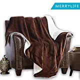 MERRYLIFE Decorative Sherpa Throw Blanket Ultra-Plush Comfort | Soft, Colorful | Home, Couch, Outdoor, Travel Use(60'' 70'', Brown)