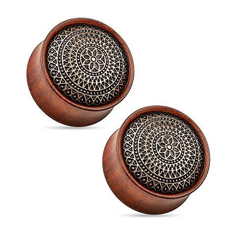 BodyJewelryOnline Organic Ear Plugs - Lattice Tribal Brass Inlay Wood Saddle Fit Double Flare Rose Wood Plugs (12mm - 1/2 (Tribal Inlay)