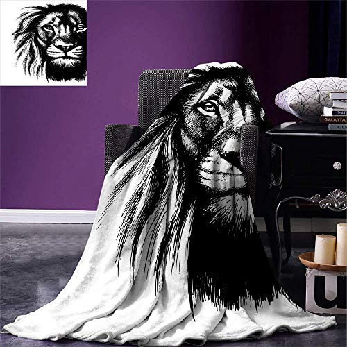 Safari Dog African Wild (Lion Digital Printing Blanket Wild African Safari Life Animal Predator Hunter Dangerous Mammal Sketchy Portrait Summer Quilt Comforter Black White)
