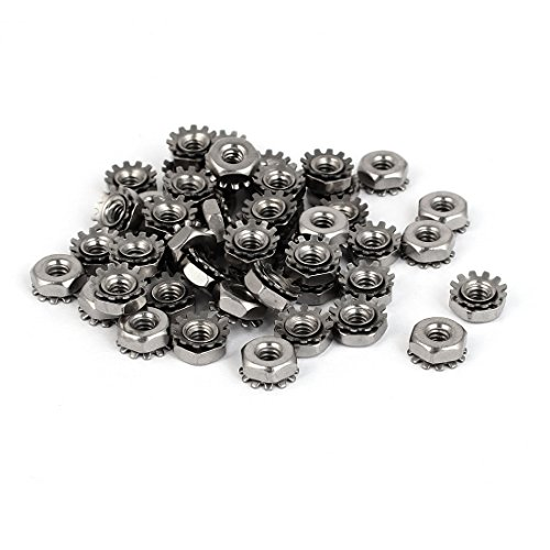 uxcell 6#-32 304 Stainless Steel Female Thread Kep Hex Head Lock Nut 50pcs