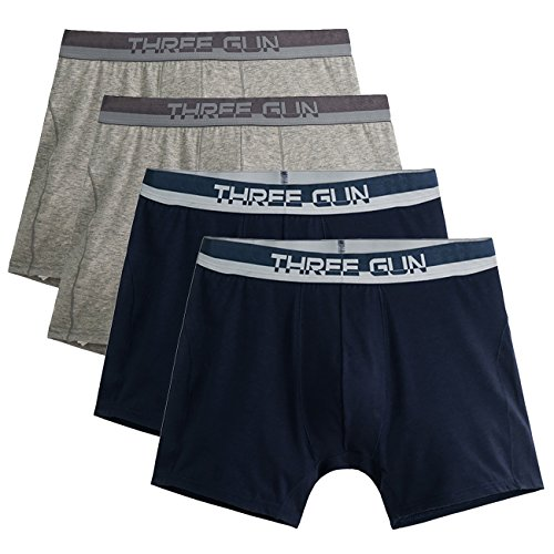 Mens' Organic Cotton Natural Soft Comfort Strechable Solid Color Boxer Briefs (Pack Of 4) (L, Grey2+Navy Blue2)
