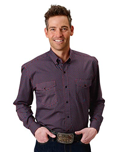 (Roper Men's Geo Print Long Sleeve Western Shirt Red Large)