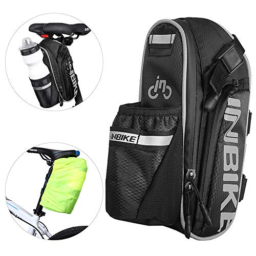 Arkmiido Bicycle Seat Pack Bag Water Bottle Bike Saddle Bag Waterproof Bike Seat Pouch Storage Repair Kit with Reflective Stripe and Taillight Hook