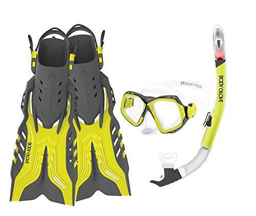 Body Glove Aquatic Fiji Mask Snorkel and Fins Set, Large/X-Large, Citrus/Grey
