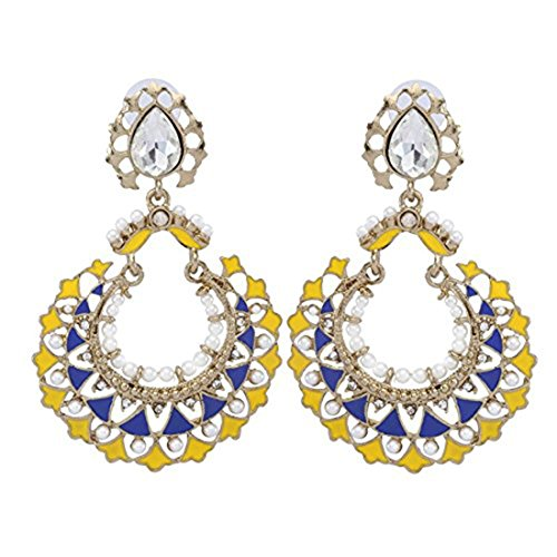 The Jewelbox 22K Gold Plated Blue Yellow Meenakari Large Chaand Bali Earring For Women Christmas Gift American Pearl Com Yellow Earrings