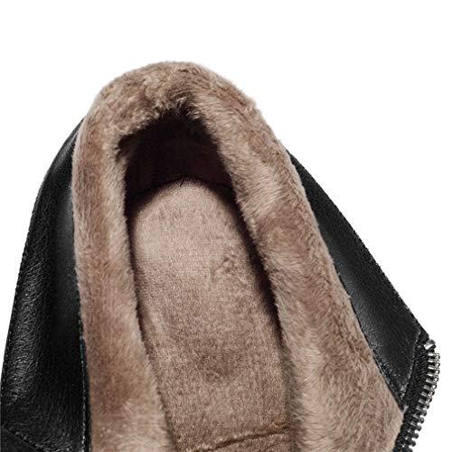 Mujer Martin Botas Yan Invierno Altos Negro Cremallera Tacones Otoño En Cuero De Moda Ásperos E Para Botines Punta AaaIw