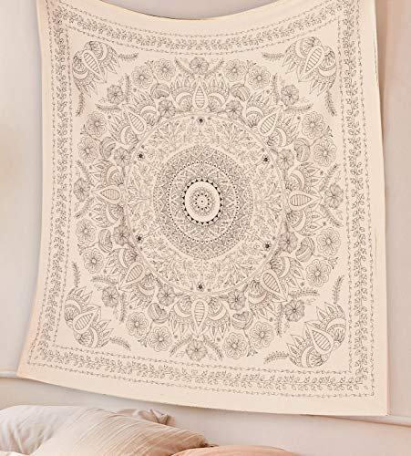 SheetKart Mandala Tapestry Wall Hanging, Medallion Indian Cotton Printed Floral Art, Wall Décor Tapestries - Small, Beige