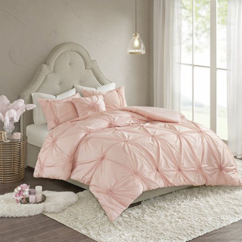 Madison Park Leila Cotton Blend Geometric Duvet Cover Full/Queen Size, Blush 4 Piece Bedding Set