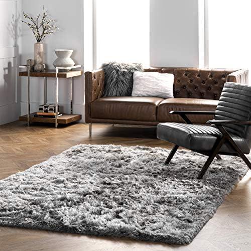 nuLOOM 200MHSH01B-860116 Latonia Silken Shag Rug, 8 6 x 11 6 , Silver, 6 6