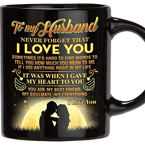 Fathers Day Gift for Man, 11 Oz Funny Mug Gifts for Husband from Wife, Perfect Husband Gift from Wife Romantic Love Wedding, Anniversary Gift, Best Couples, Christmas, Birthday, Father's Day (Happy Birthday To My Husband And Father)