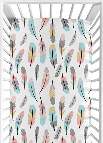 Sweet Jojo Designs Multicolored Feather Print Fitted Crib Sheet for Feather Collection Baby/Toddler Bedding Set