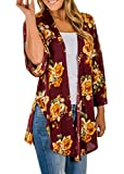 Floral Season Ladies Casual Slim Fit Floral Print Soft Hip Length Cardigan Blouse Top Red Small