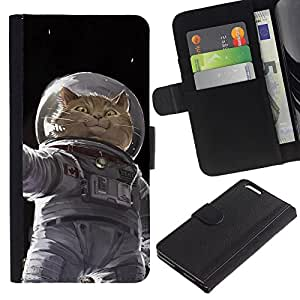 Cosmonaut Astronaut Kitten Cat Space - la tarjeta de Crédito Slots PU Funda de cuero Monedero caso cubierta de piel Apple (5.5 inches!!!) iPhone 6+ Plus / 6S+ Plus