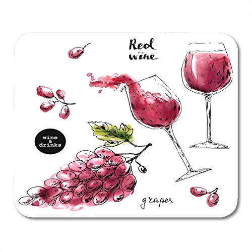 Nakamela Mouse Pads Black Ink Sketch of Wine Glasses with Red Watercolor Stains and Grape Berries for Food and Drink Label Mouse mats 9.5
