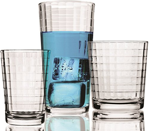 Windowpane 16 Piece Drinking Glass Set