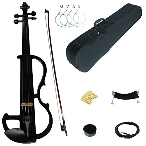 Kinglos 4/4 Black Colored Solid Wood Advanced Electric / Silent Violin Kit with Ebony Fittings Full Size (DSG1801) ()